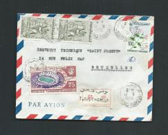 TUNISIE 1970 REGISTERED MAIL FROM TUNIS-THAMEUR TO BRUSSELS - Tunisie (1956-...)