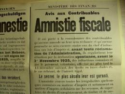 Affiche poster AMNISTIE FISCALE Fiscale amnestie 1-11-1925 regularistation, regularistatie. Minist�re Finances