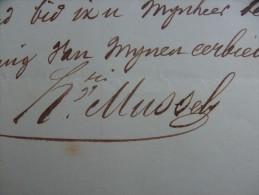 MUSSELY Henri, secretaris Ledegem (Ledeghem) brief 26 Xbre (december) 1855 handteken + stempel