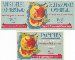 BORGLOON-BELGIUM-SIROOPFABRIEK-WIJNANTS-GROENENDAELS-FRERES-ORIGINEEL-ETIKET-2 STUKS-LITHO-CHROMO-S.A.BRUXELLES-TOP ! ! - Fruit En Groenten