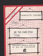 7439P  -  Editions  Rideau Rouge   Georgette Lemaire      Je Ne Sais Pas - Music & Instruments