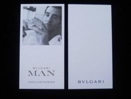 2 X Singapore Perfume Cards Cartes Parfumees --  BVLGARI MAN MASCULINE CHARISMA - Modern (from 1961)