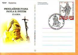 Croatia 2014 Y Postcard Overprint Canonisation Of Pope John Paul II Postmark Lopatinec 27.04. - Croacia
