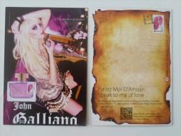 "1 X Singapore Perfume Postcard Cards Carte Parfumee -John Galliano Speak To Me Of Love Parlez Moi DAmour (4.25"" X 5.75"") - Postcards"