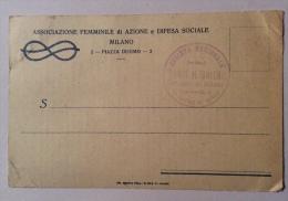 Associazione Femminile Di Azione E Difesa Sociale Milano F.p. Ottimo Stato - Guerra 1914-18
