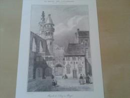 Brugge Litho Gezicht Op De Gesloten En Bouwvallige H. Bloedkapel Voor De Herstelling En De Griffie Met Zadeldak - Lithographies