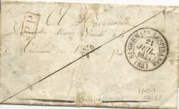 1845 - LETTRE PP De AMBIERLE Avec CACHET De ST GERMAIN LESPINASSE (LOIRE) - IND 9 - 1801-1848: Precursores XIX