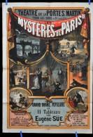 Affiche LES MYSTERES de PARIS par Eug�ne S�E The�tre de la Porte St Martin vers 1890