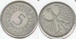 ALEMANIA DEUTSCHE 5 MARK MARCOS 1951 D PLATA SILBER - [ 7] 1949-… : RFA - Rep. Fed. Alemana