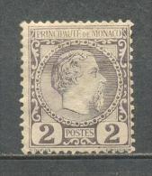 1885 MONACO 2C. CHARLES III MICHEL: 2 MH * - Monaco