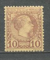 1885 MONACO 10C. CHARLES III MICHEL: 4 MH * - Neufs