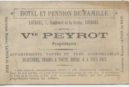 65 - LOURDES   -  HOTEL Et  PENSION DE FAMILLE    -  Mme Vve  PEYROT -  Ancienne Maison LATOUR De BRIE - France