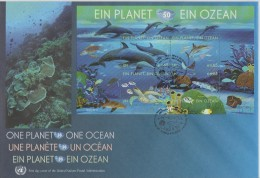 United Nations FDC  Block 27 - 50th Ann. International Oceanographic Commission - Dolphin - Turtle - Shark - 2010 - FDC