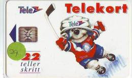 Télécarte A PUCE NORVERGE * Sport HOCKEY (29) CHIP Phonecard * Telefonkarte * NORWAY N-6 1/92 TIRAGE 25.000 - Sport