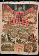 Affiche Th��tre de la porte Saint Martin LES EXILES vers 1880