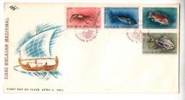 FDC Indonésie - Hari Nelajan Nasional - 1963 (poissons) - Indonésie
