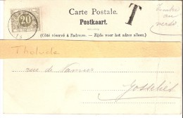 Timbre Taxe TX6*20c Olive-oblitération Gosselies -1901-avec T-sur Carte Postale De Namur-La Caserne Des Lanciers - Taxes