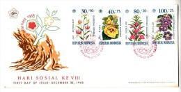 FDC Indonésie - Hari Sosial Ke VIII - 1965 (fleurs) - Indonesia