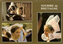 Jos 1.5602 Sourire De Bretagne 3 Coiffes De Quimper/Vannes/Fouesnant -timbre Verso Lib Gandon 1988 - France
