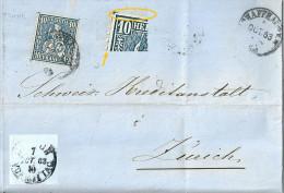 Faltbrief  Schaffhausen - Zürich            1863 - Lettres & Documents