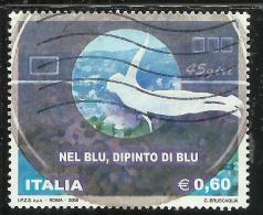 ITALIA REPUBBLICA ITALY REPUBLIC 2008 NEL BLU DIPINTO DI BLU USATO USED OBLITERE´ - 6. 1946-.. Repubblica
