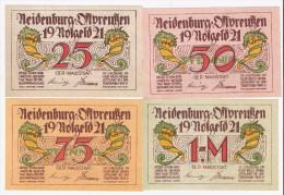 **notgeld  Neidenburg 25+50+75 Pf +1 Maark Serie Compleet       932.3 - [11] Emissions Locales