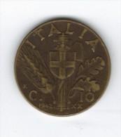 """RedF - 10 Centesimi """"Impero"""" Del 1942 . BRONZITAL - 1861-1946 : Regno"""