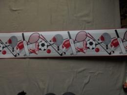 Ancien Rouleau De Frise En Papier Peint Thème Sports Années 80 - Tapis & Tapisserie