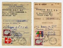 Avis De Crédit Et Virements Affranchis Avec M. Decaris 0.25cts - Postmark Collection (Covers)