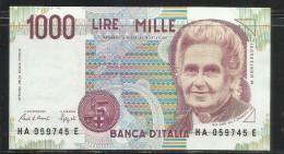 ITALIA REPUBBLICA 1990 BANCONOTA DA LIRE 1000 MONTESSORI  ITALIE ITALIEN ITALY - [ 2] 1946-… Republik