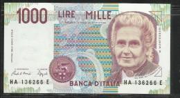 ITALIA REPUBBLICA 1990 BANCONOTA DA LIRE 1000 MONTESSORI  ITALIE ITALIEN ITALY - [ 2] 1946-… : République