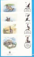 + BRITISH VIRGIN ISLANDS 1988; FDC, Complete Set Of 4; Mi: 637 - 640; WWF, Brown Pelican, Braune Pelikan, Birds - British Virgin Islands