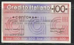 ITALIA MINIASSEGNO CREDITO ITALIANO LIRE 100 UNIONE REGIONALE DEL COMMERCIO E TURISMO TOSCANA FIRENZE 21 SETTEMBRE 1976 - [10] Assegni E Miniassegni