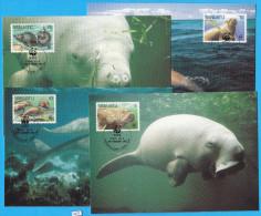 VANUATU 1988; Maximum Card, Complete Set Of 4; Mi: 782 - 785; WWF, Dugong, Sirenians, Mammals - Vanuatu (1980-...)