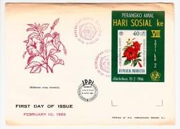 FDC Indonésie - Bloc - First Day Of Issue - Perangko Amal - Hari Sosial Ke VIII - Hibiscus Rosa Sinensis - 1966 (fleurs) - Indonesia