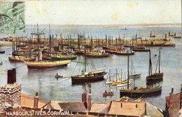 HARBOUR SAINT-IVES CORNWALL CARTE COLORISEE RARE - St.Ives