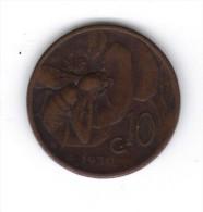 """RedL - 10 Centesimi """" Ape """" Del 1930 . RAME - 1861-1946 : Regno"""