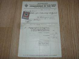 Kriegsstammbuch Der Stadt Wien Rechnung Vertriebsstelle 1918 Austria Österreich K. K. Reichshaupt Und Residenzstadt - Austria