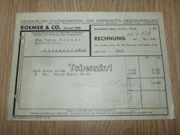 Roemer & Co. Neunkirchen Kolonialwaren Und Lebensmittel Grosshandlung Ottweiler-Saar 1938 Rechnung Deutschland - 1900 – 1949