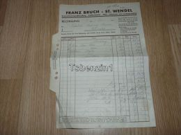 Franz Bruch St. Wendel Kolonialwarengrosshandlung Kaffeerösterei Oele Fettwaren Landesprodukte 1940 Rechnung Deutschland - 1900 – 1949