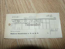 Molkerei Neunkirchen E.G.m.b.H. Rechnung Deutschland - 1900 – 1949
