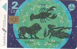 LATVIA(chip) - Zodiac(puzzle 2/4), Exp.date 09/03, Used - Latvia