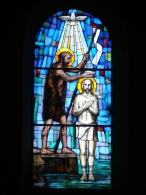 S.GIOVANNI Battista - vetrata Chiesa S.Anna PIACENZA - fotografia