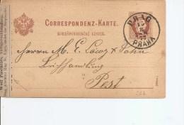 Autriche ( EP De 1877 De Prague  Vers Pest à Voir) - Briefe U. Dokumente