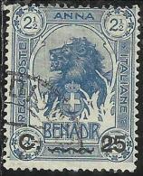 COLONIE ITALIANE SOMALIA 1906-1907 ELEFANTI O LEONI SOPRASTAMPATO SURCHARGE 25 C SU 2 1/2 ANNA TIMBRATO USED - Somalia