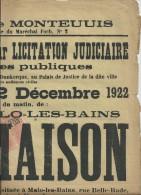2 affiches notariales vente maisons MALO LES BAINS 1913 - 1922