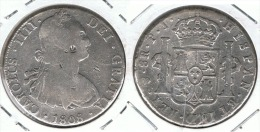 BOLIVIA  CARLOS IIII 8 REALES POTOSI 1808 RESELLOS CHINOS  PLATA SILVER - Bolivia