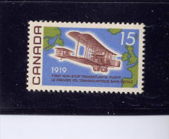 Canada, 1969,  #494,  ALCOK-BROWN FLIGHT. Dull,  M NH, Avion,mer, Continents - 1952-.... Règne D'Elizabeth II