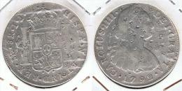 PERU CARLOS IIII 8 REALES LIMA 1792 RESELLOS CHINOS LIMA PLATA SILVER - Peru