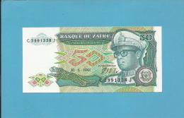 ZAIRE - 50 ZAIRES - 30/06/1988 - Pick 32 - Sign. 7  - UNC. - Mobutu - 2 Scans - Zaire
